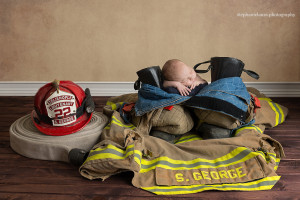 newborn fireman photography
